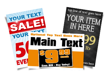 Store Signs with Prices, Percentages, & Text