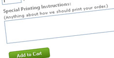 Screenshot of Special Printing Instructions box